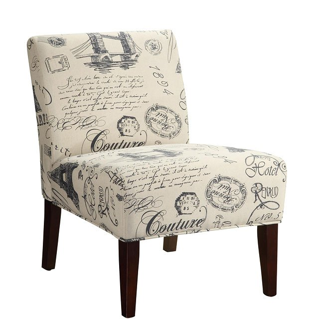Accent Chair With Writing On It: Script Writing Accent Chair By Coaster Furniture