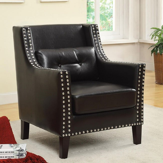 Black Accent Chair W Nailhead Trim By Coaster Furniture