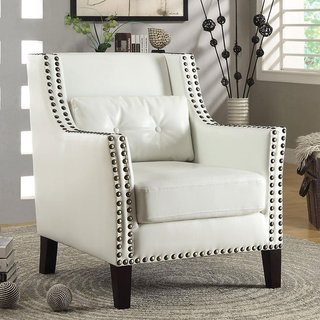 Global Furniture Accent Chair With Nailhead: White Accent Chair W/ Nailhead Trim