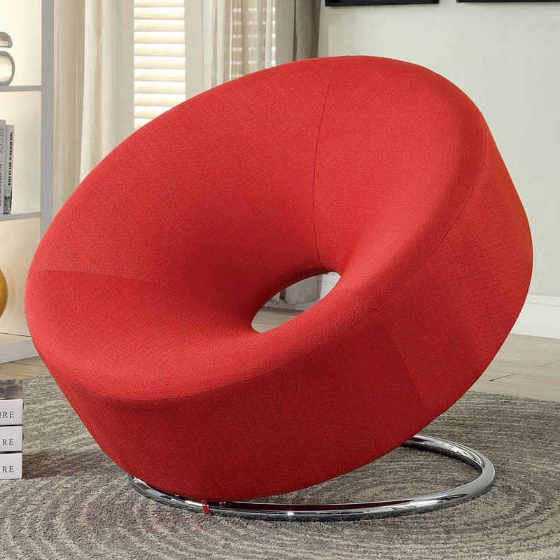 Good Donut Shaped Accent Chair (Red)