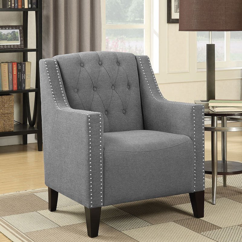 Accent Chair W/ Diamond Tufting And Nailhead Trim