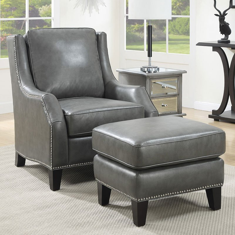 Grey accent chair w ottoman accent chairs living room furniture living room for Occasional chairs for living room