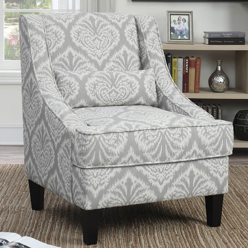 Grey And White Pattern Accent Chair Accent Chairs Living Room Furniture Living Room
