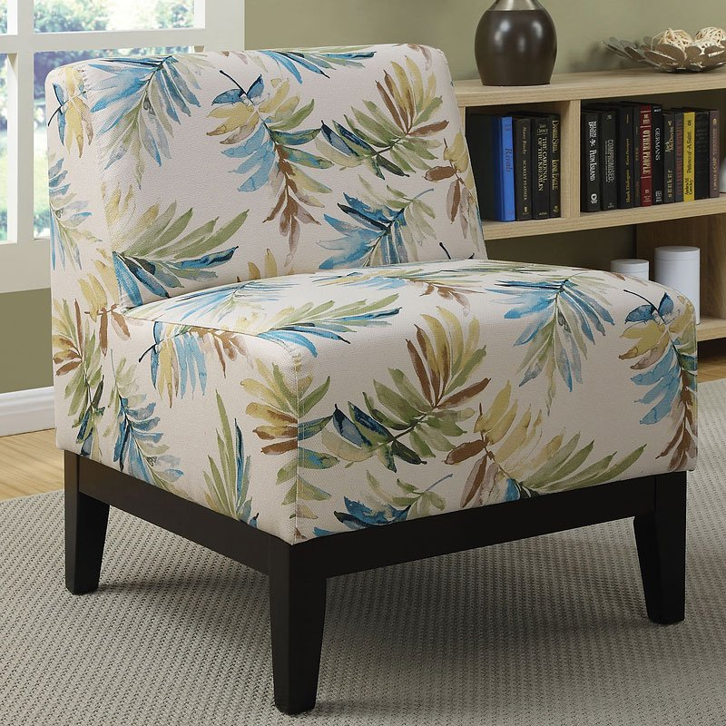 Watercolor Print Accent Chair Blue Green Accent Chairs
