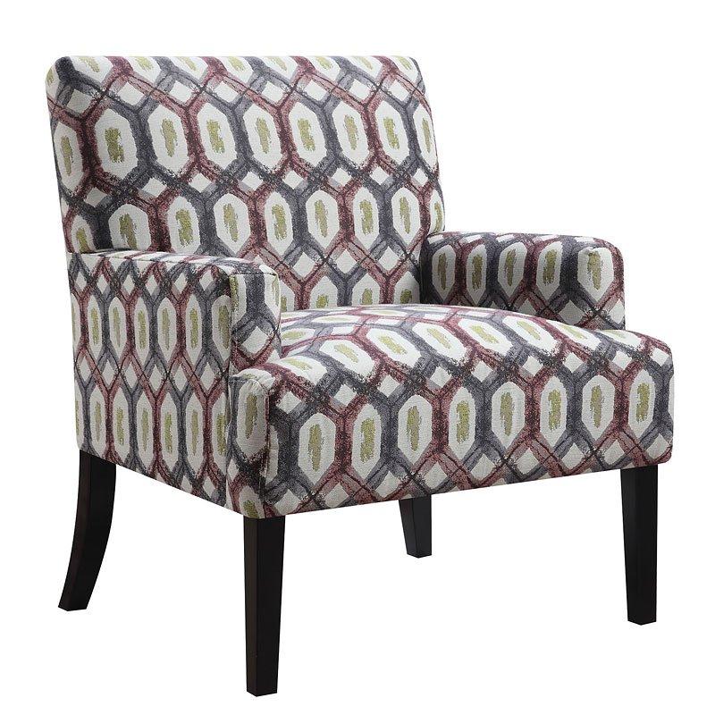 Outstanding Geometric Patterned Accent Chair Red W Grey Inzonedesignstudio Interior Chair Design Inzonedesignstudiocom