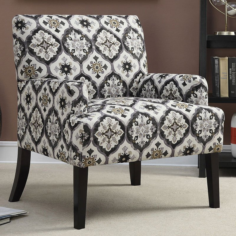 Grey And White Paterened Accent Chair: Geometric Patterned Accent Chair (Grey)