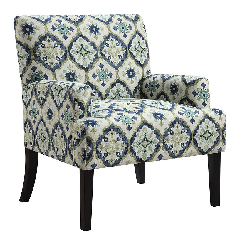 Patterned Accent Chairs: Geometric Patterned Accent Chair (Dark Blue) By Coaster