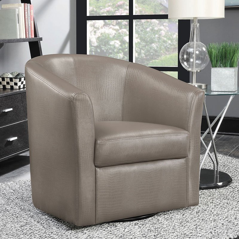 Champagne Leatherette Swivel Accent Chair By Coaster