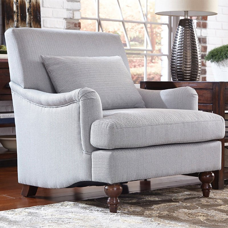 Light Grey Accent Chair: Light Grey Attached Back Accent Chair By Coaster Furniture