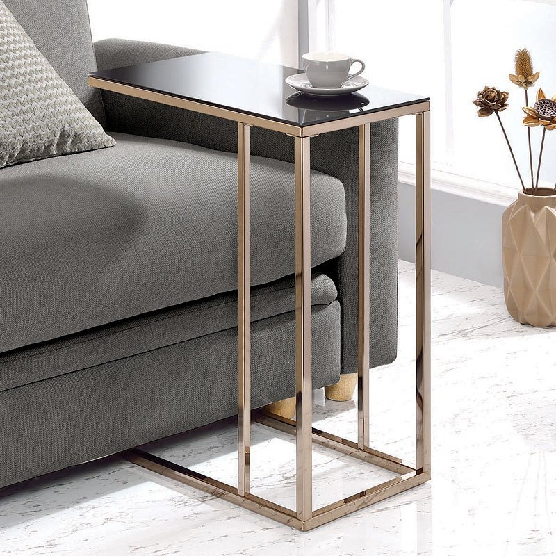 Chocolate chrome accent table w black glass top accent tables occasional and accent Black glass side tables for living room