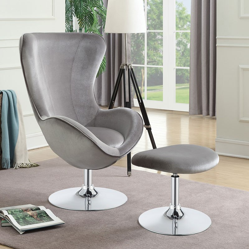 Grey Velvet Accent Chair W Ottoman By Coaster Furniture