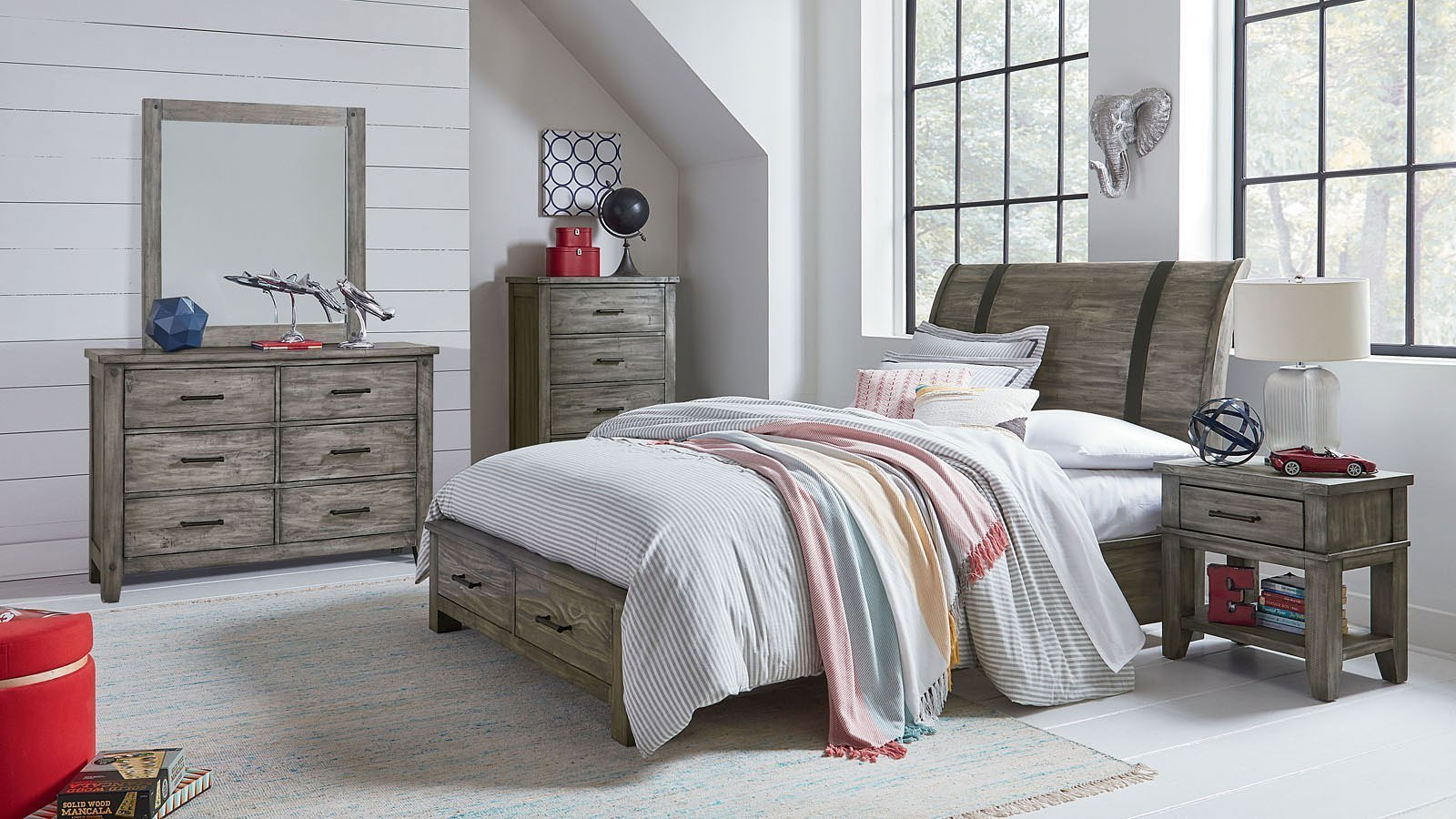 Nelson youth storage bedroom set grey by standard - Youth bedroom furniture with storage ...