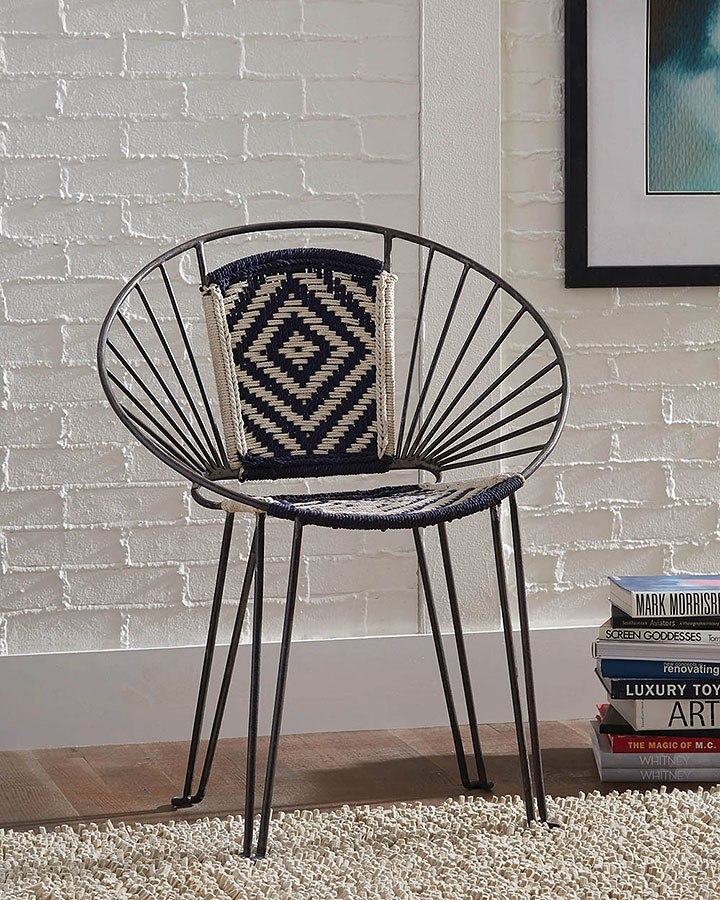 Iron Bohemian Accent Chair Navy Beige Set Of 2 By