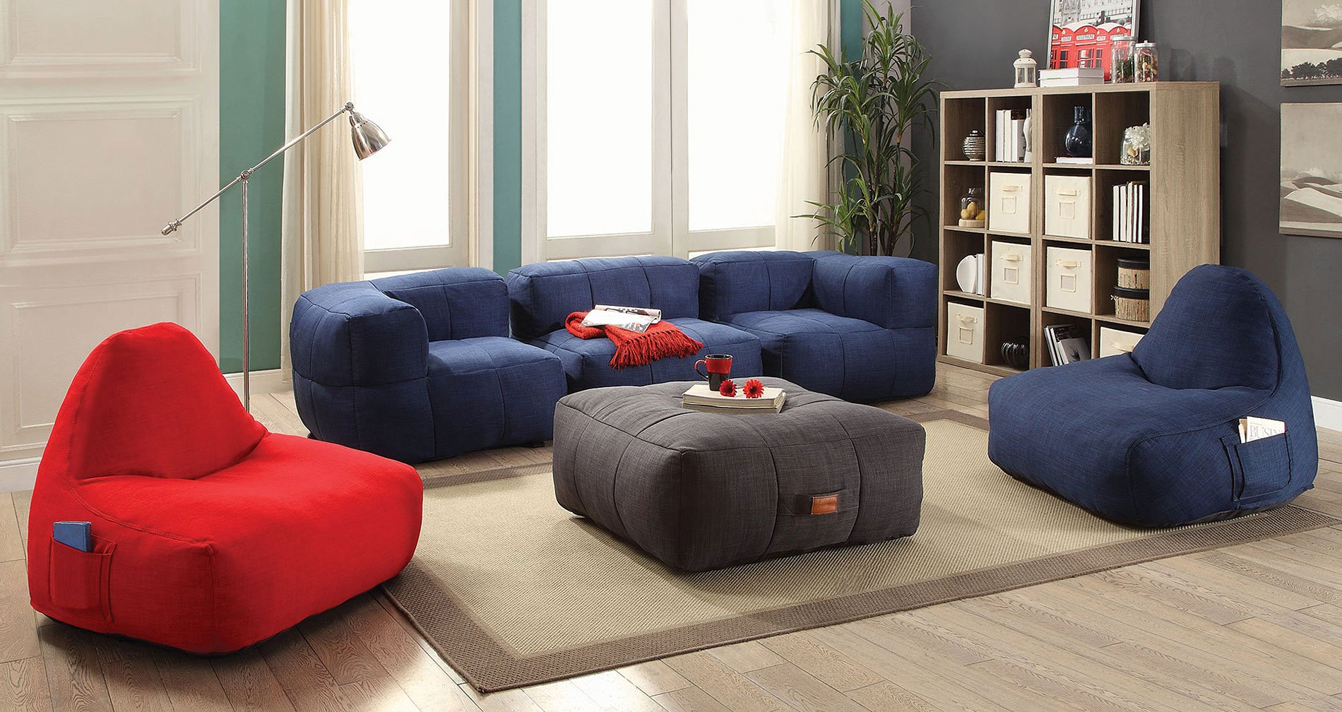 Lazy Life Bean Bags Living Room Set By Coaster Furniture Furniturepick