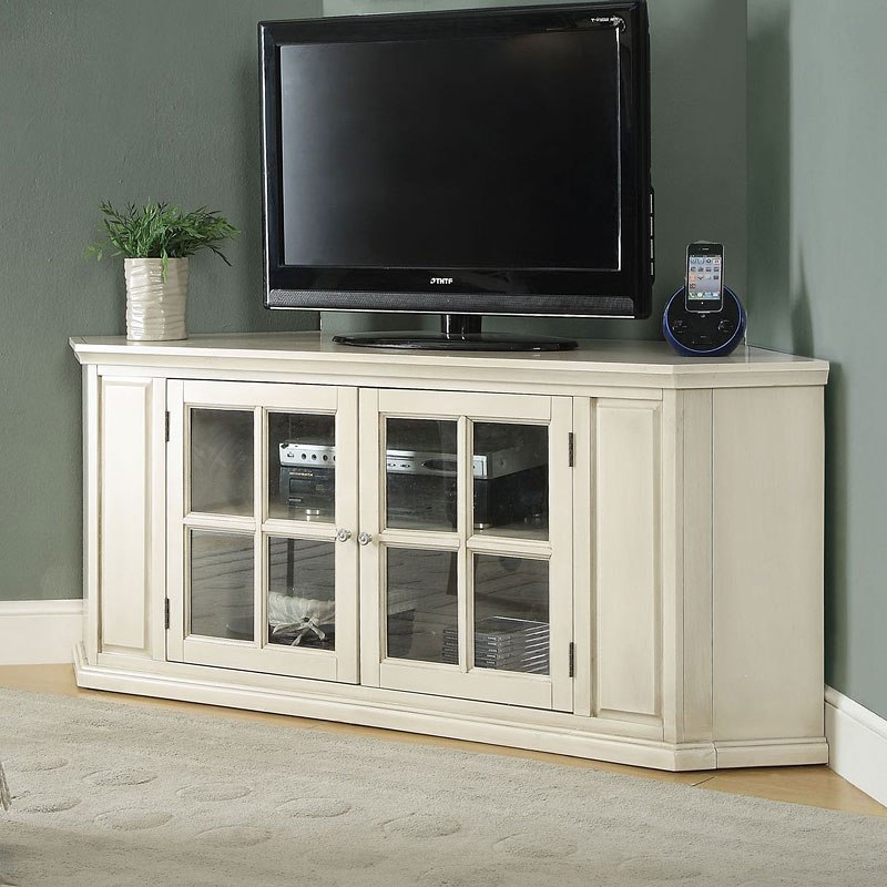 Exceptionnel Malka Corner TV Stand (Antique White)