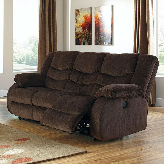 Garek Cocoa Reclining Sofa W Power By Signature Design By