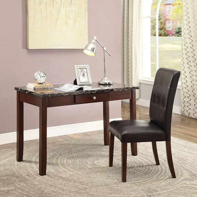 Sydney Writing Desk W/ Chair (Black Faux Marble) By Acme
