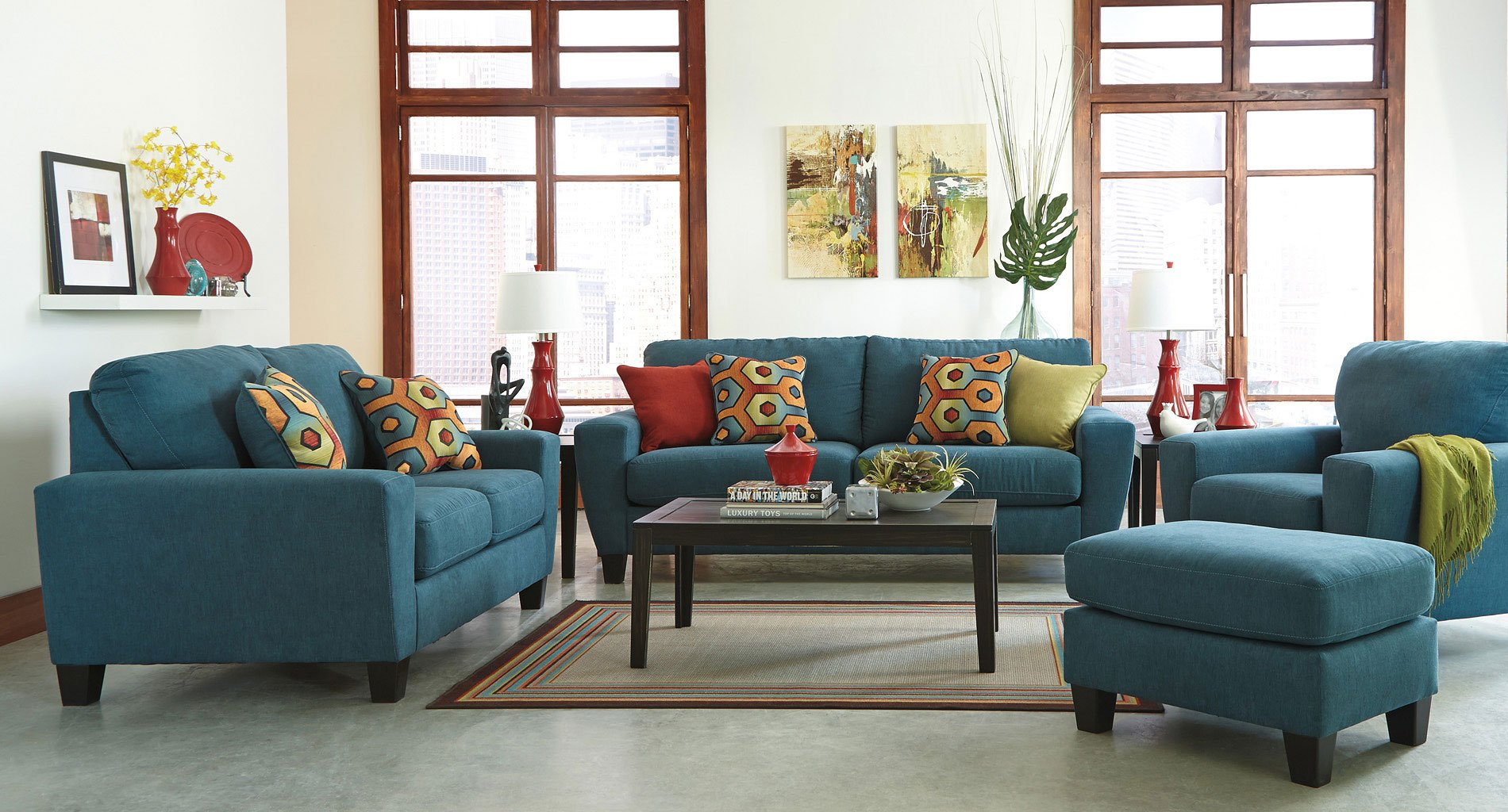 Sagen Teal Living Room Set By Signature Design By Ashley