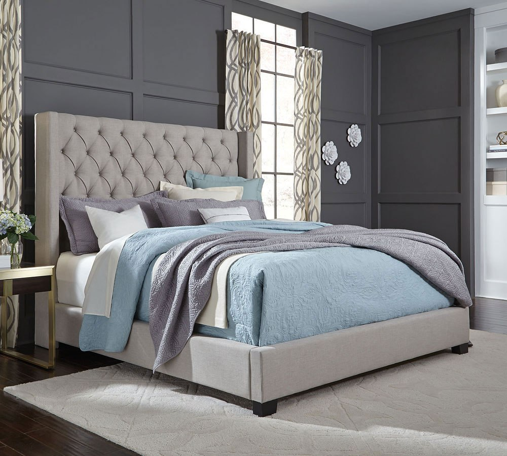 Westerly Upholstered Bed Light Grey King