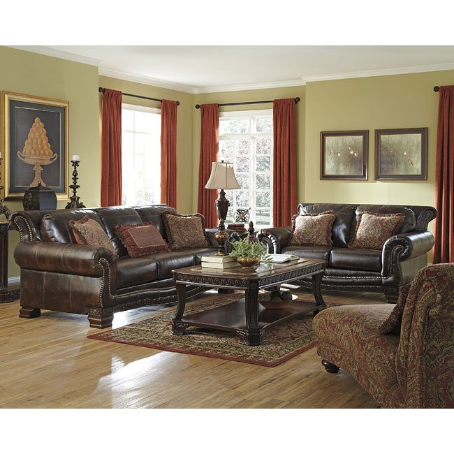 Ledelle durablend antique living room set by signature - Antique living room furniture sets ...