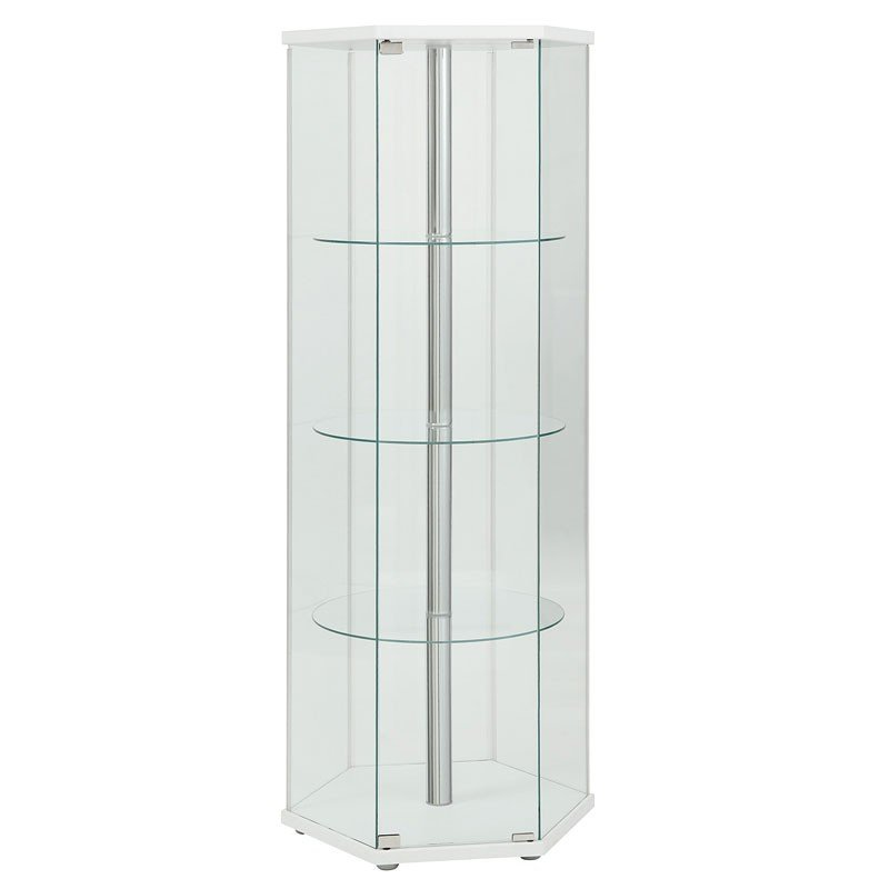 Hexagon Shaped Curio Cabinet (White) By Coaster Furniture