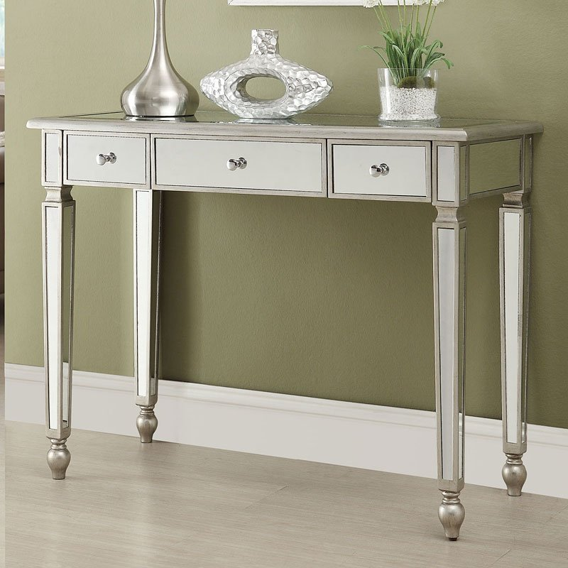 Mirrored Console Table W 3 Drawers