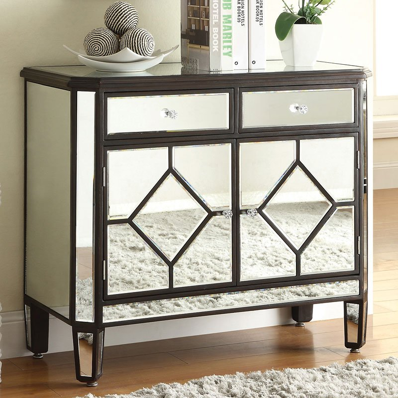 Cabinet Moldings Decorative Accents: Mirrored Accent Cabinet W/ Brown Trim By Coaster Furniture