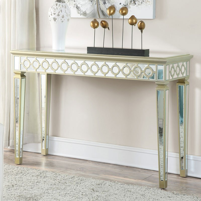 Mirrored Console Table W/ Gold Trim