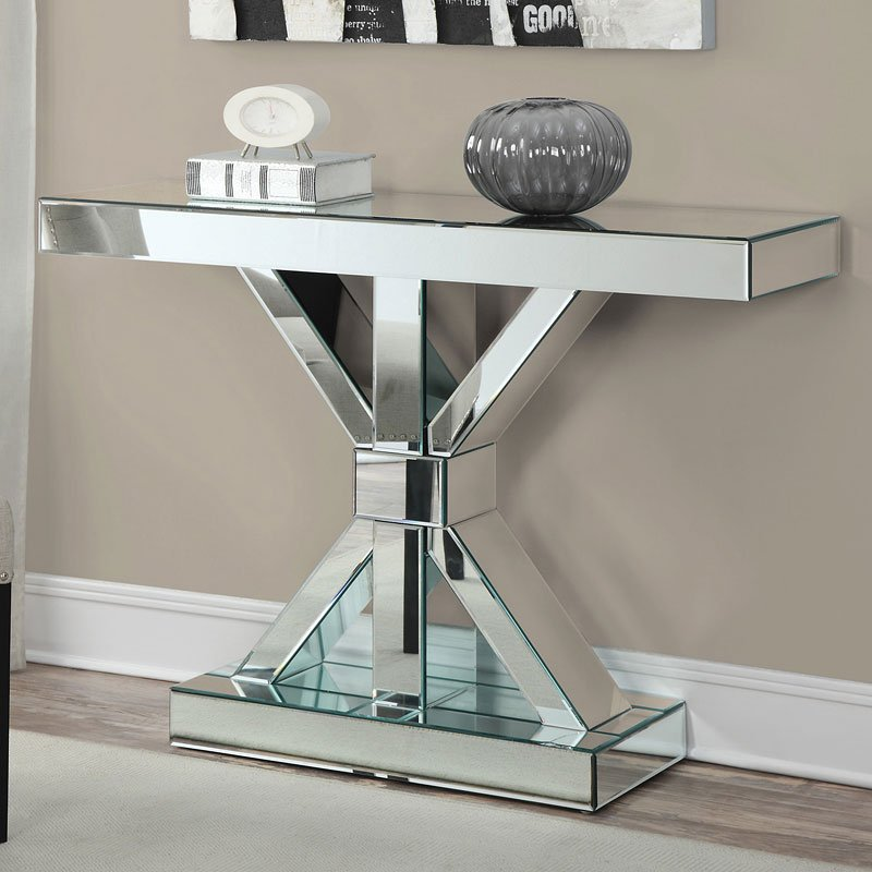 mirrored side table living room mirrored console table w x base sofa tables 22804