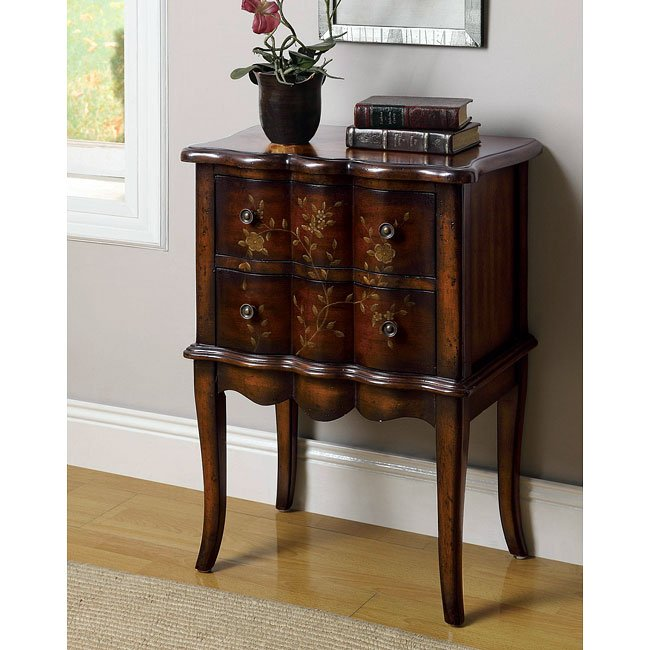 Hand Painted Cherry Accent Cabinet By Coaster Furniture