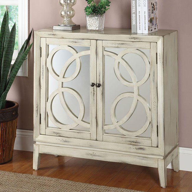 White Mirrored Front Accent Cabinet By Coaster Furniture