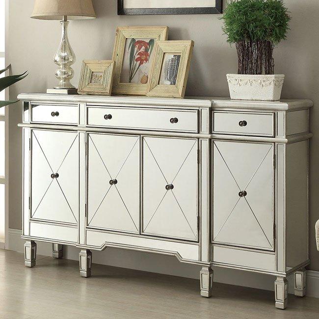 Antique Silver Mirrored Accent Cabinet - Antique Silver Mirrored Accent Cabinet Coaster Furniture FurniturePick