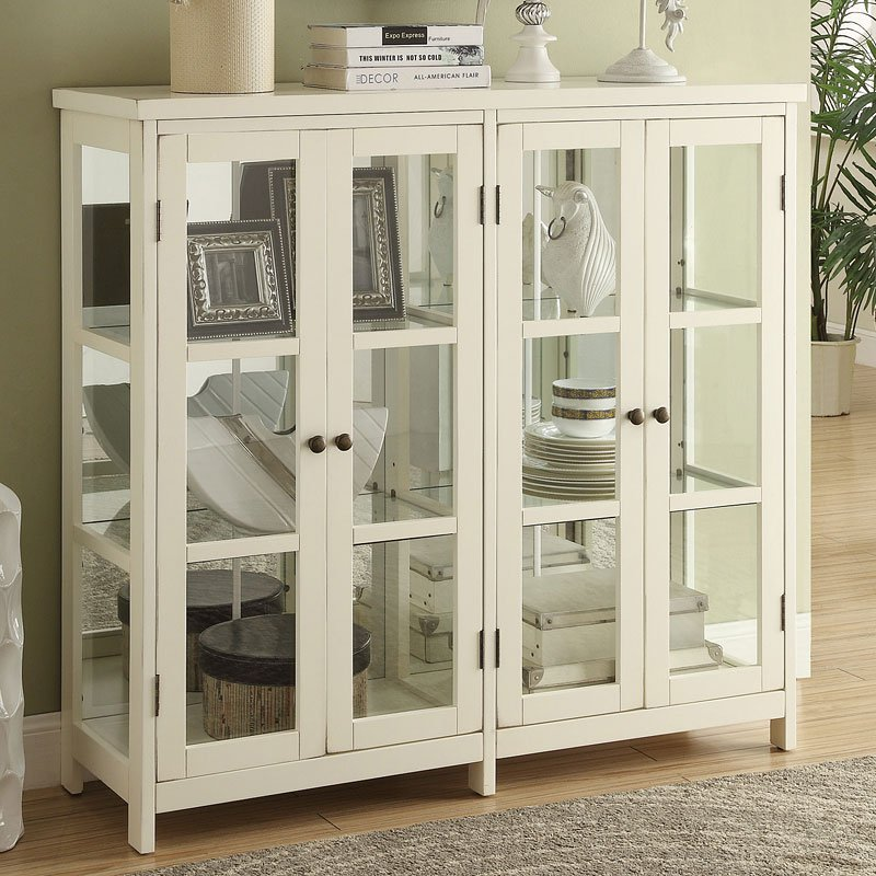 White Accent Cabinet W Glass Windows By Coaster Furniture