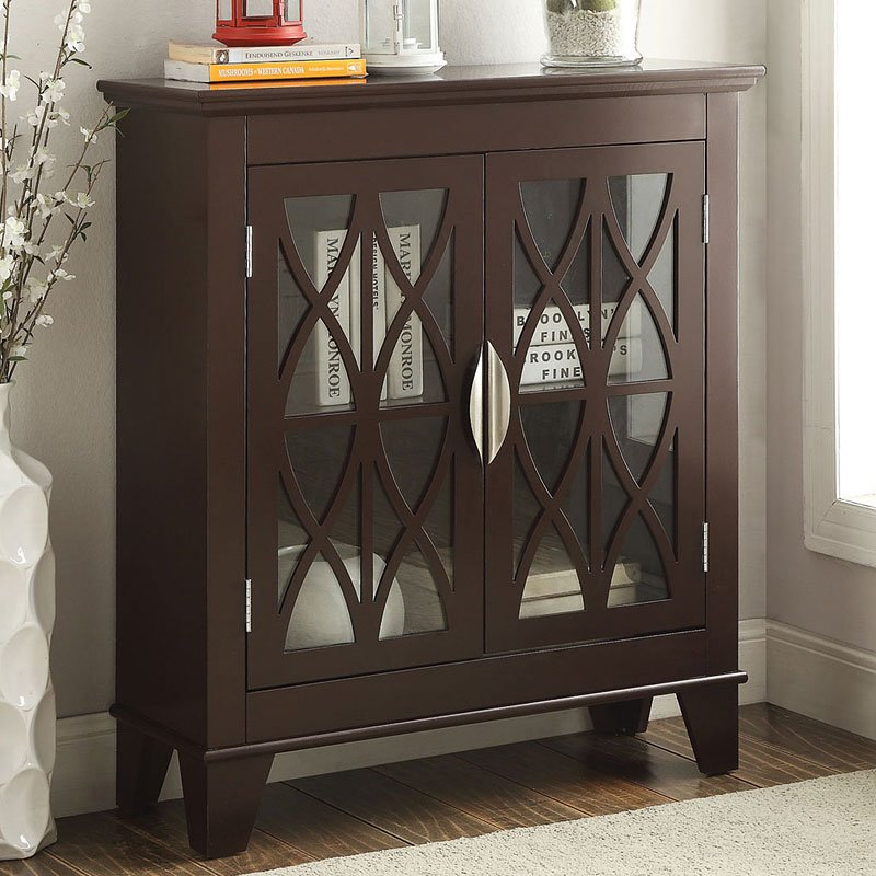 Accent Cabinet W/ Glass Doors (Brown) By Coaster Furniture