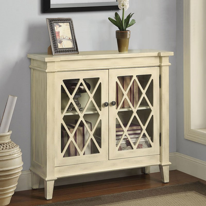 Lattice Design Accent Cabinet Antique White By Coaster