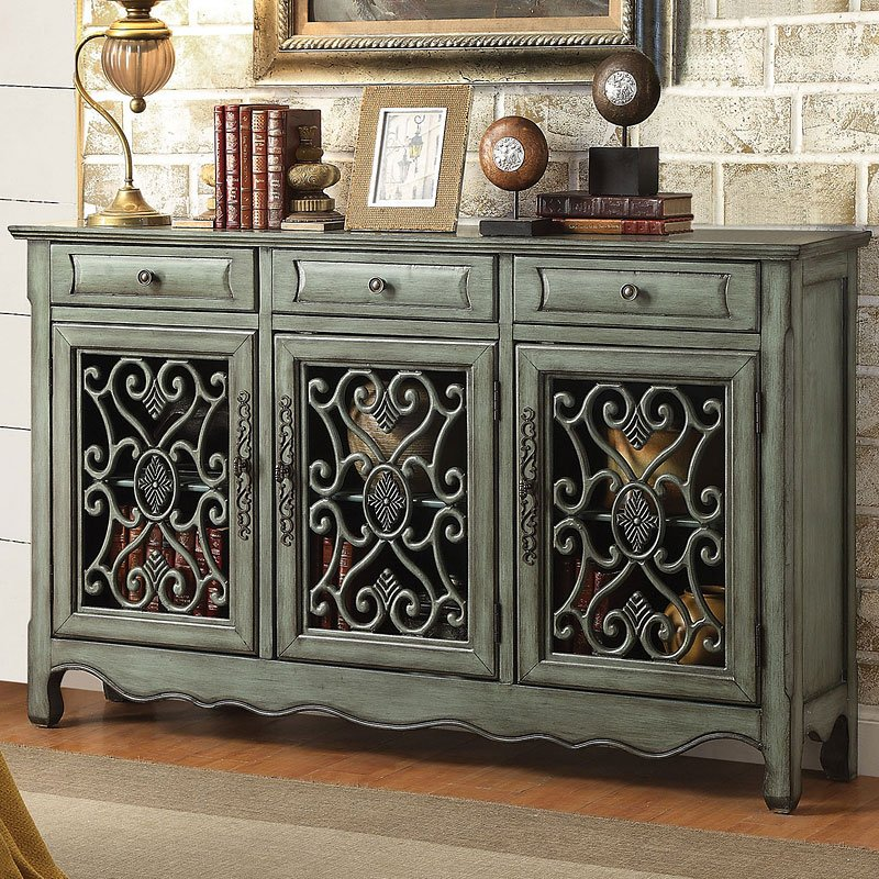 Accent Furniture For Living Room: Antique Green Accent Cabinet