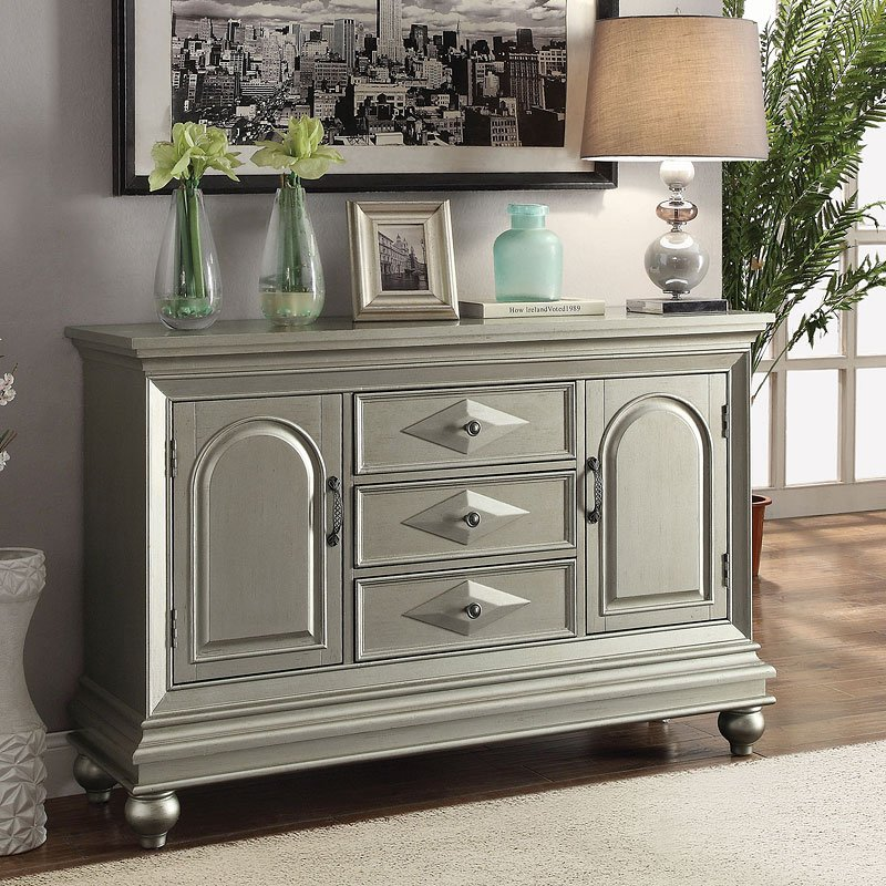Glamorous Accent Cabinet W Silver Finish Accent Chests And Cabinets Occasional And Accent