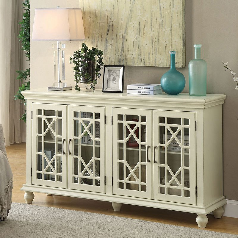 Lattice Doors Accent Cabinet Antique White Accent