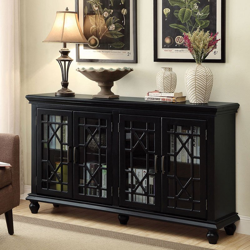 Lattice Doors Accent Cabinet (Black)