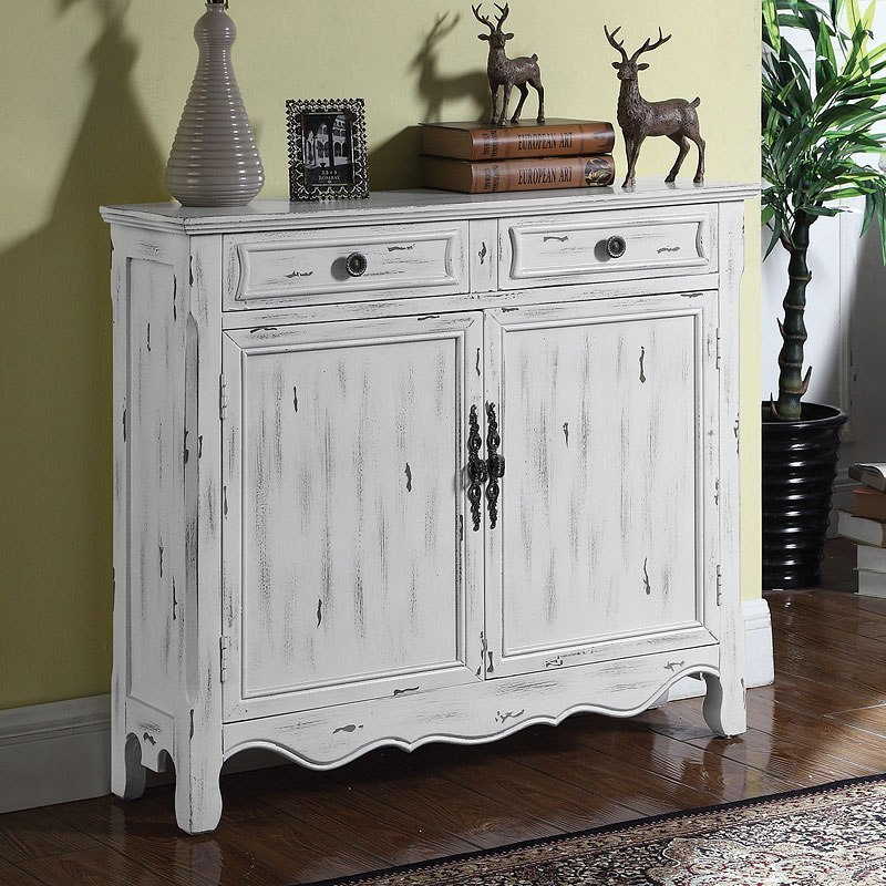 Distressed White Accent Cabinet
