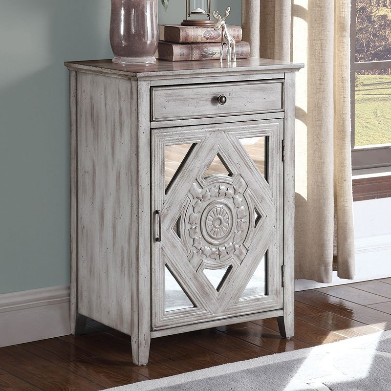 Small Accent Couch: Distressed Grey Small Accent Cabinet By Coaster Furniture