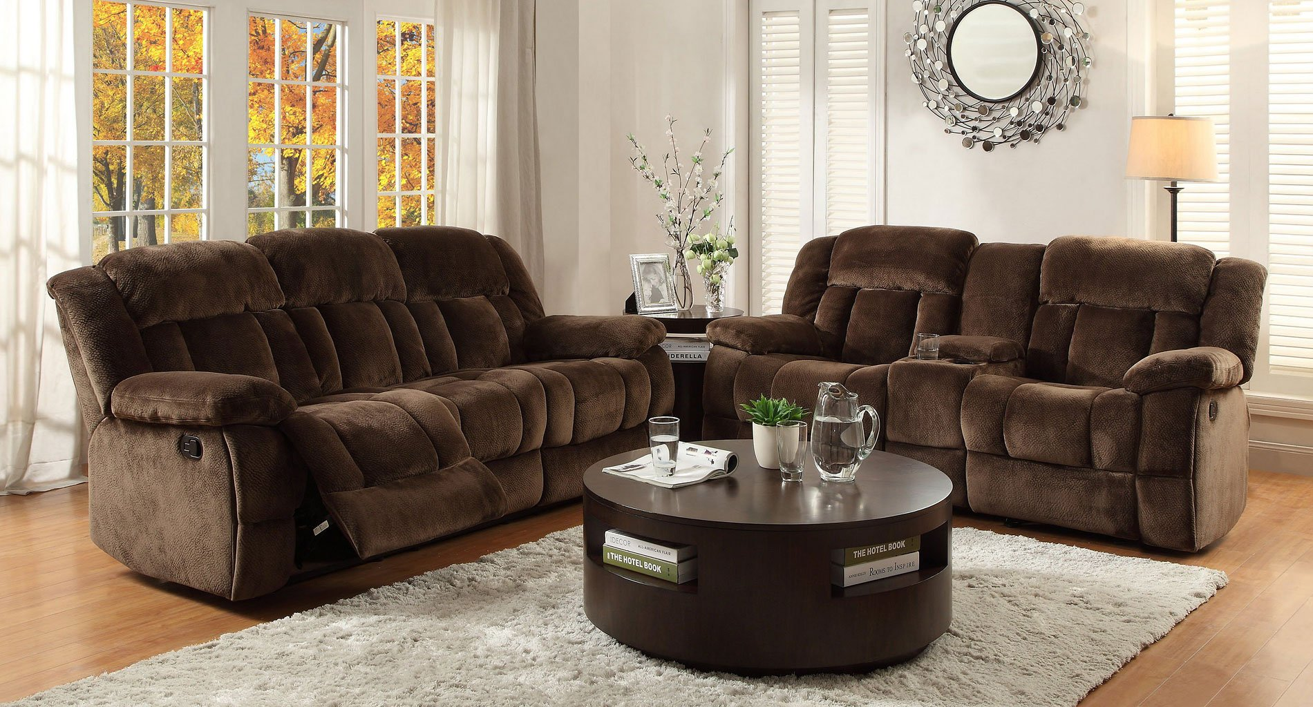 Living Room Furniture: Laurelton Reclining Living Room Set (Chocolate)