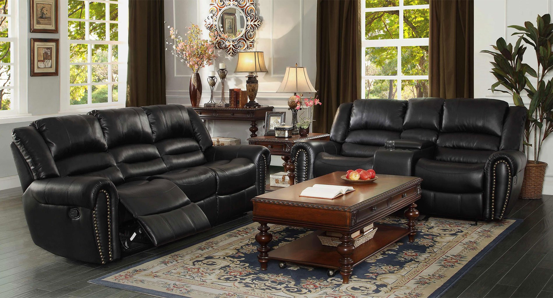 Center hill reclining living room set black living room sets living room furniture - Living room furniture designs catalogue ...