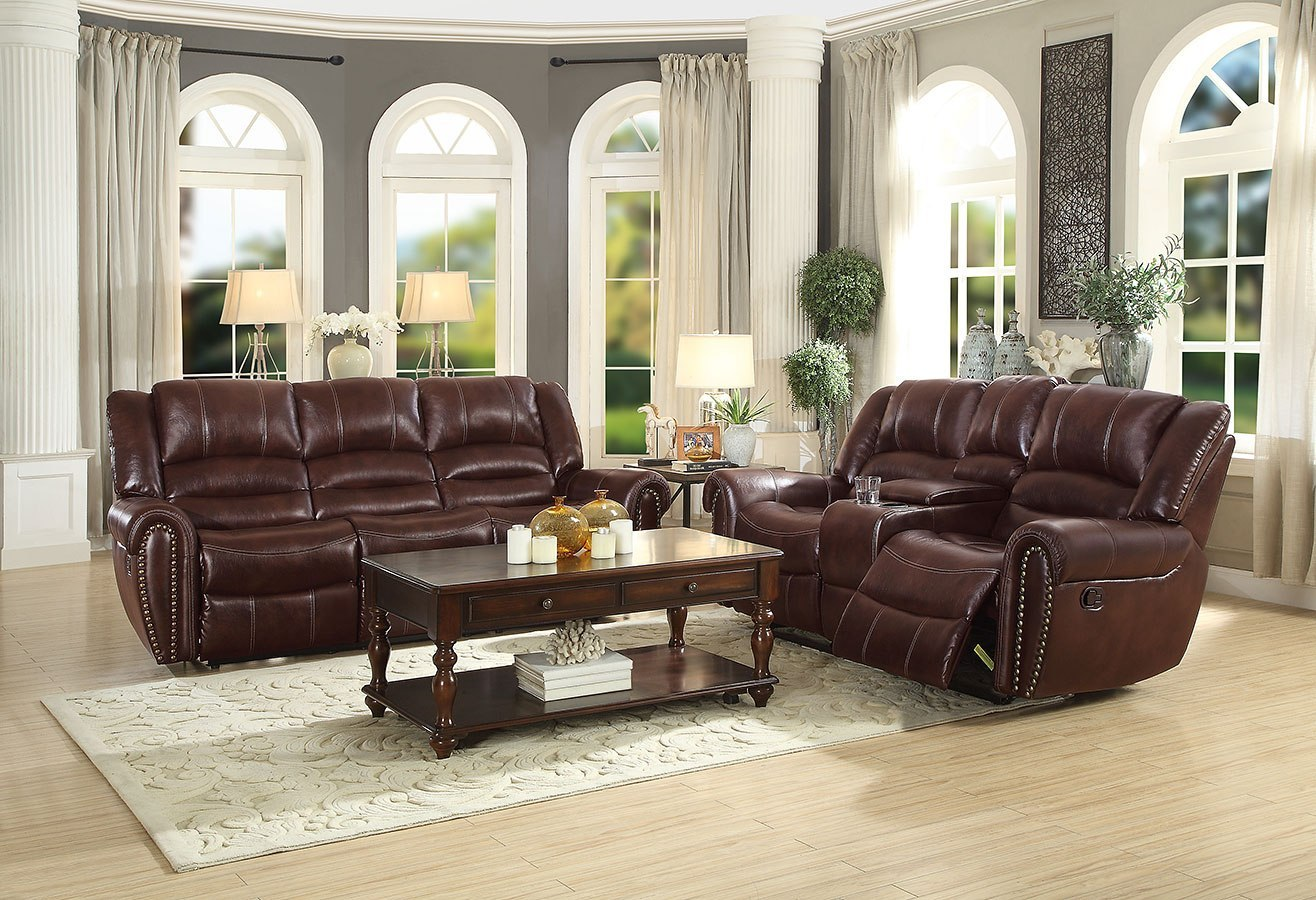 Center Hill Reclining Living Room Set Dark Brown Leather Gel