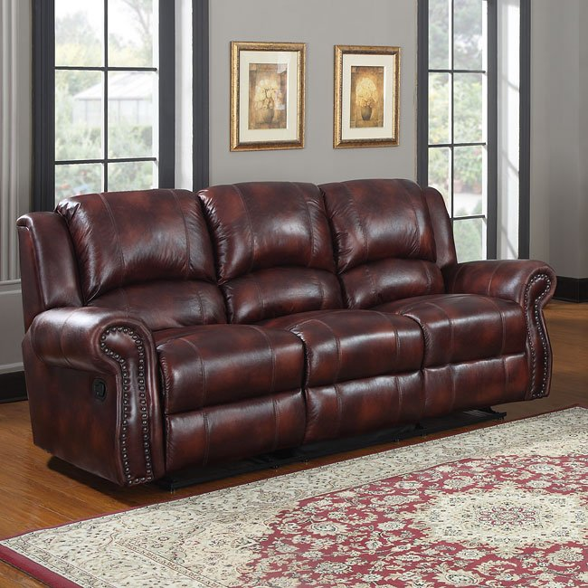 Quinn Reclining Living Room Set (Burgundy Microfiber) By