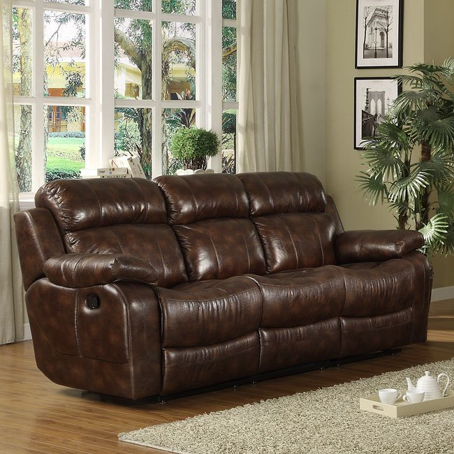 Marille Double Reclining Sofa W Drop Down Table By