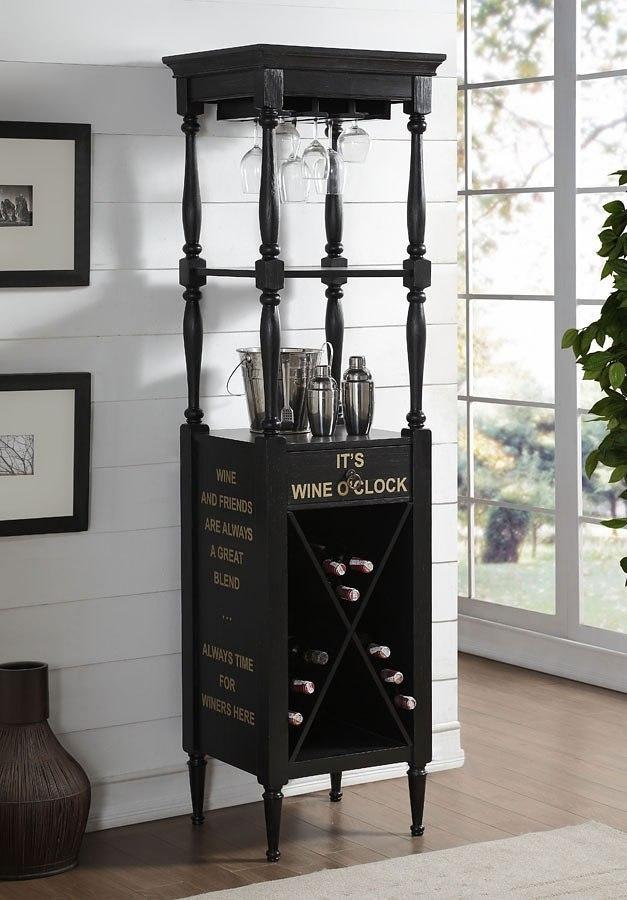 Anthony Wine Cabinet (Antique Black) - Anthony Wine Cabinet (Antique Black) - Home Bar And Game Room
