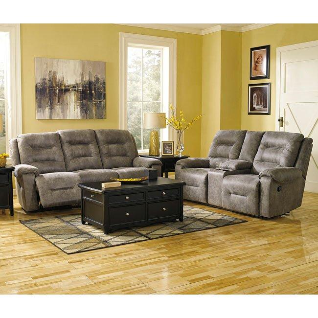 Rotation Smoke Reclining Living Room Set W Power By