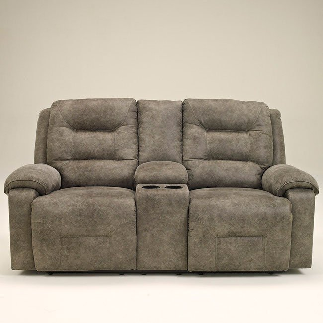 Rotation Smoke Double Reclining Loveseat W Console