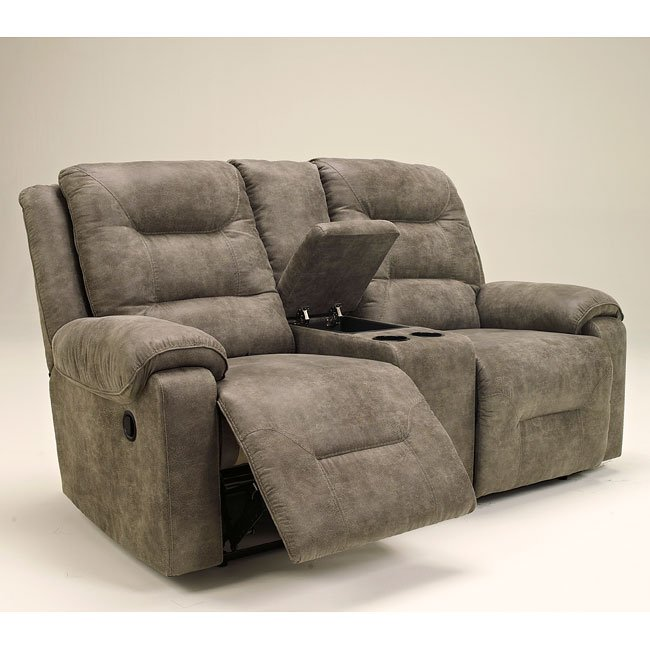Rotation Smoke Double Reclining Loveseat W Console By
